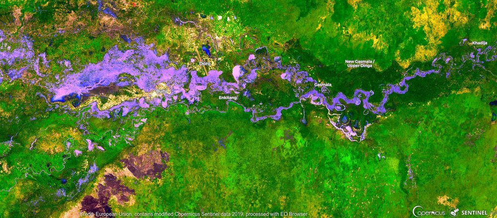 Satellite imagery of flooding in South Sudan's Upper Nile region with violet representing water.