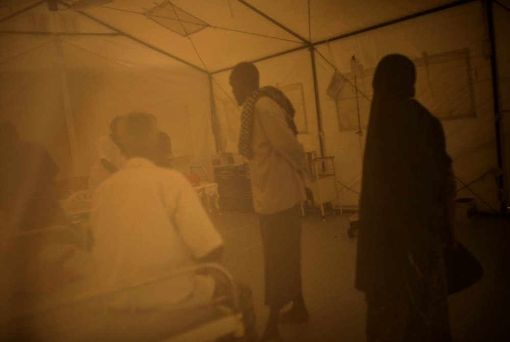 A tented hospital ward in Mogadishu, Somalia.