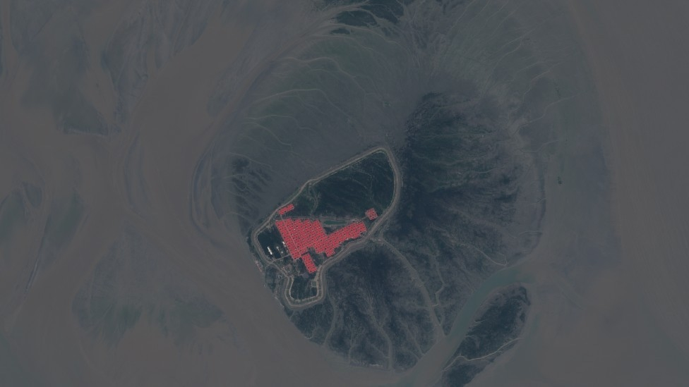 A satellite image taken on 12 November 2019 shows barracks-style construction on Bhasan Char island on the Bay of Bengal.