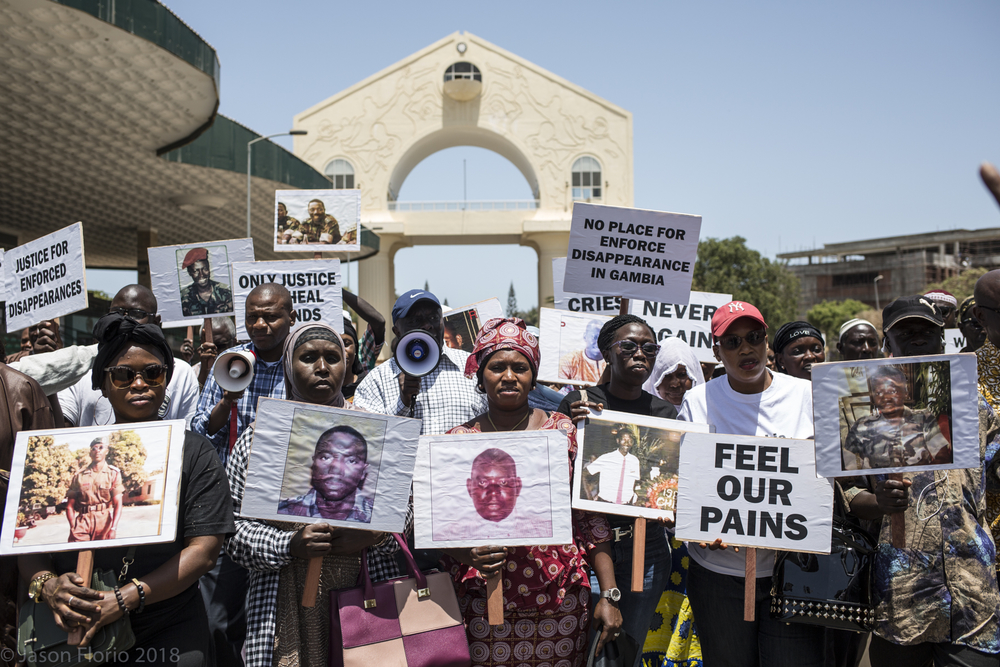 Photo of protesters in Banul, Gambia