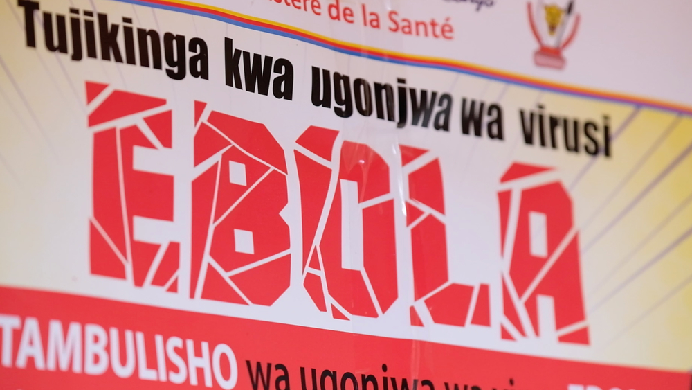 Posters used to deliver messages about Ebola to communities in the Democratic Republic of Congo's outbreak zone.