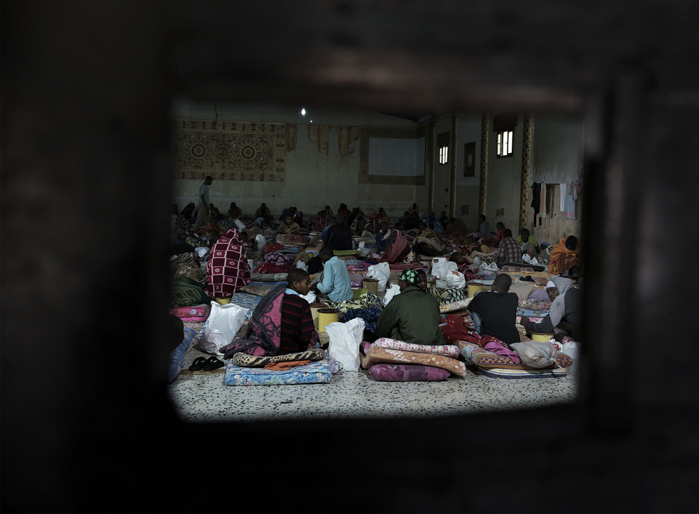Photo of migrants in detention centre in Libya