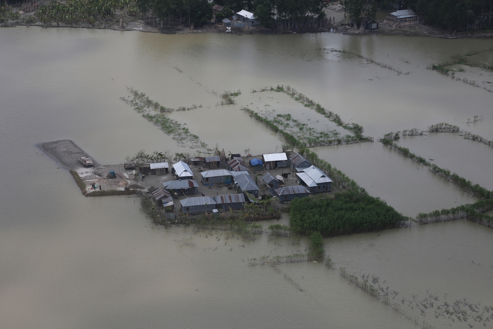 Aerial photograph showing the extent of flooding across Bangladesh.