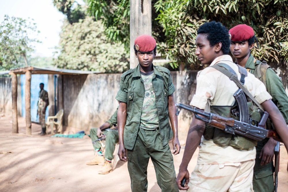 Fighters of the UPC militia in the Central African Republic town of Bambari