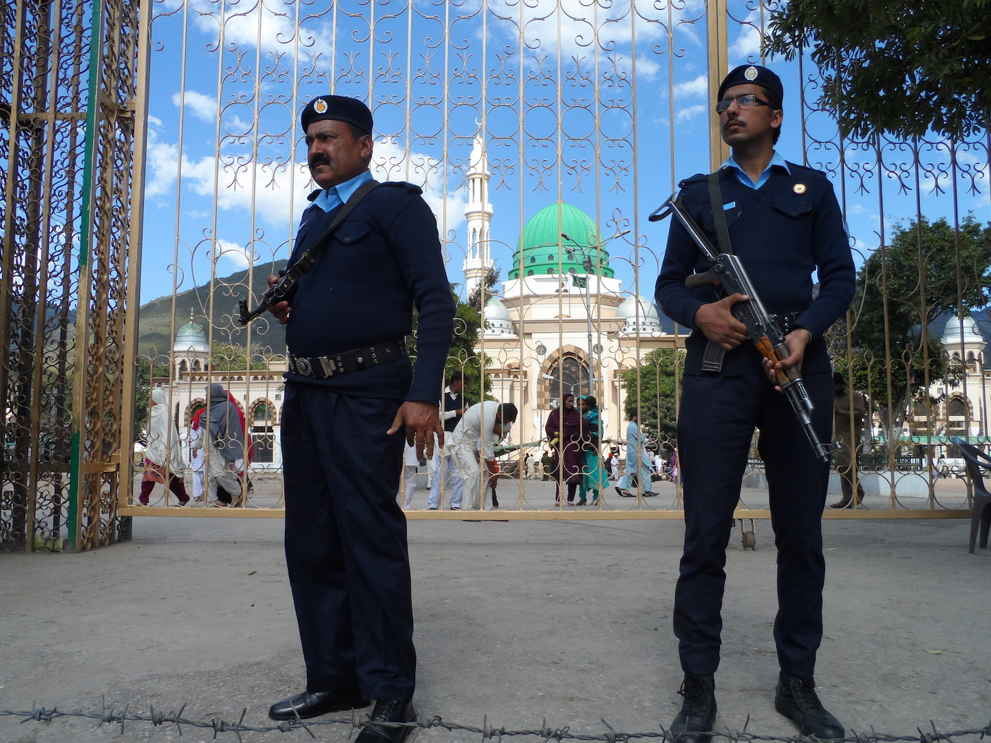Police guard the Bari Imam Sufi shrine in Islamabad