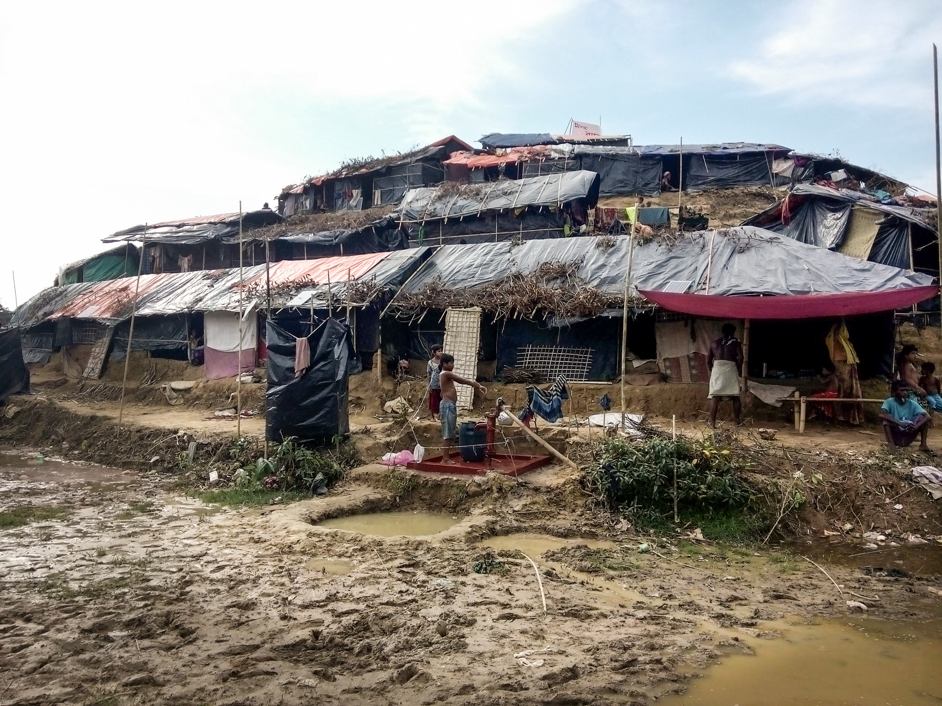 Makeshift homes in a Rohingya refugee settlement in Bangladesh.