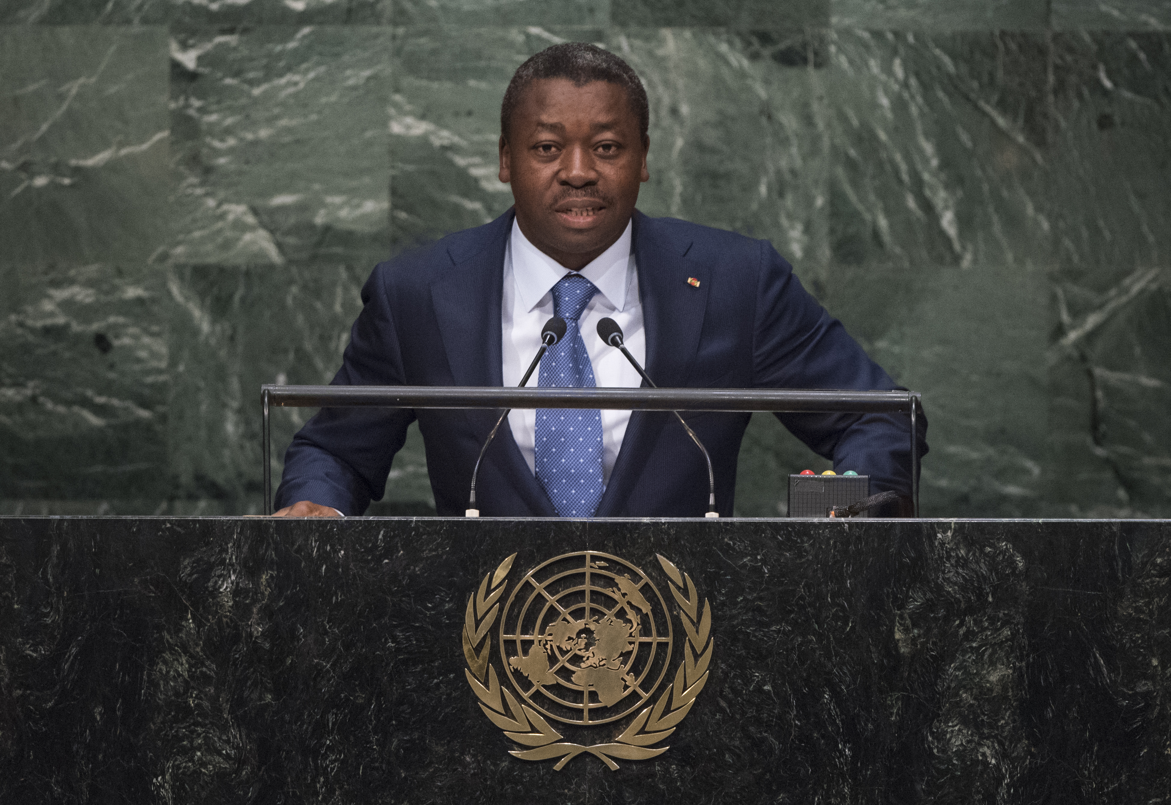 Faure Essozimna Gnassingbé, President of Togo, addresses the general debate of the General Assembly's seventieth session.