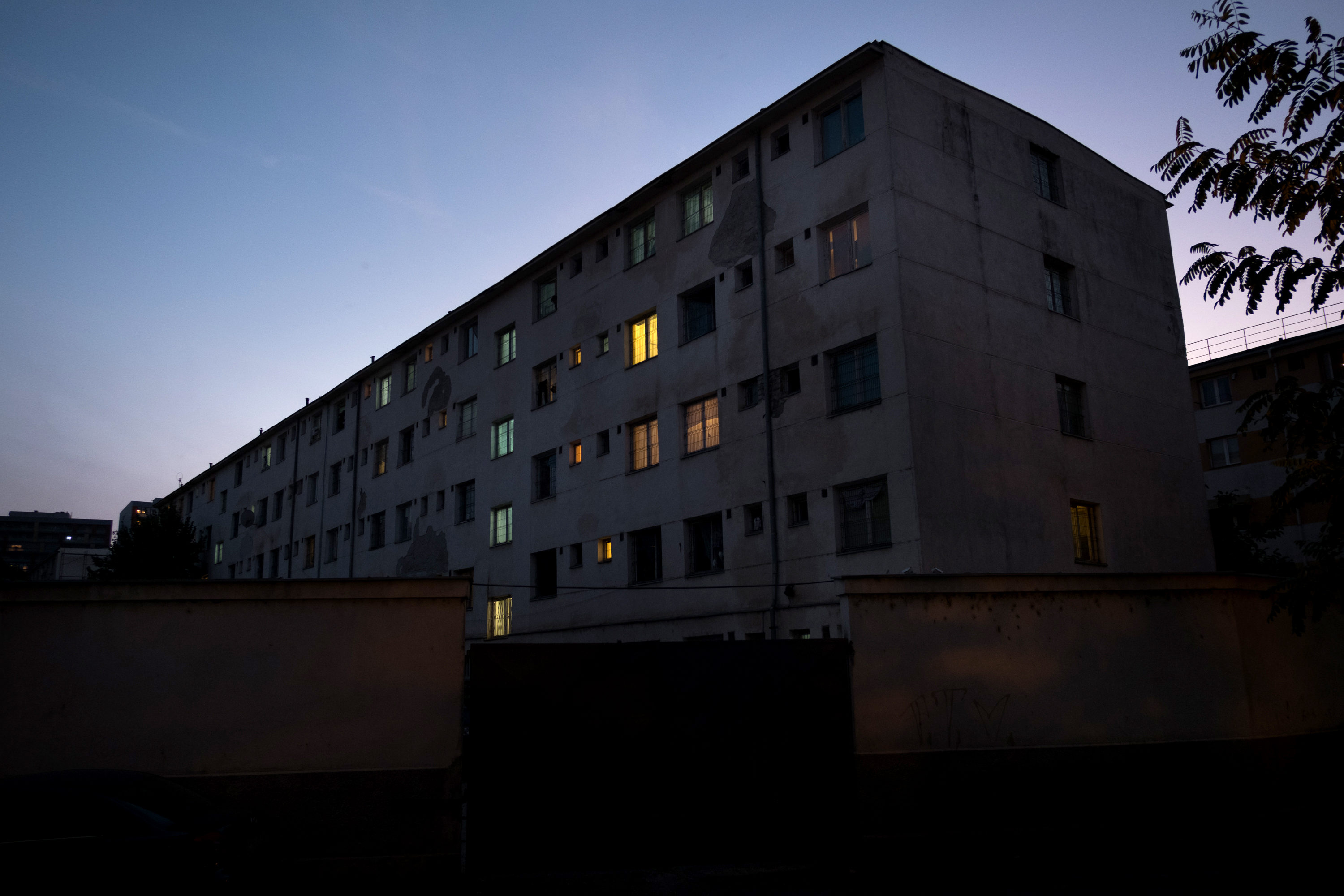 A dormitory that houses over 300 asylum-seekers in Bucharest, Romania.