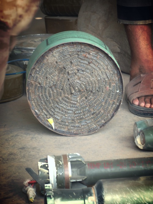 A gas canister converted into a mine or improvised explosive