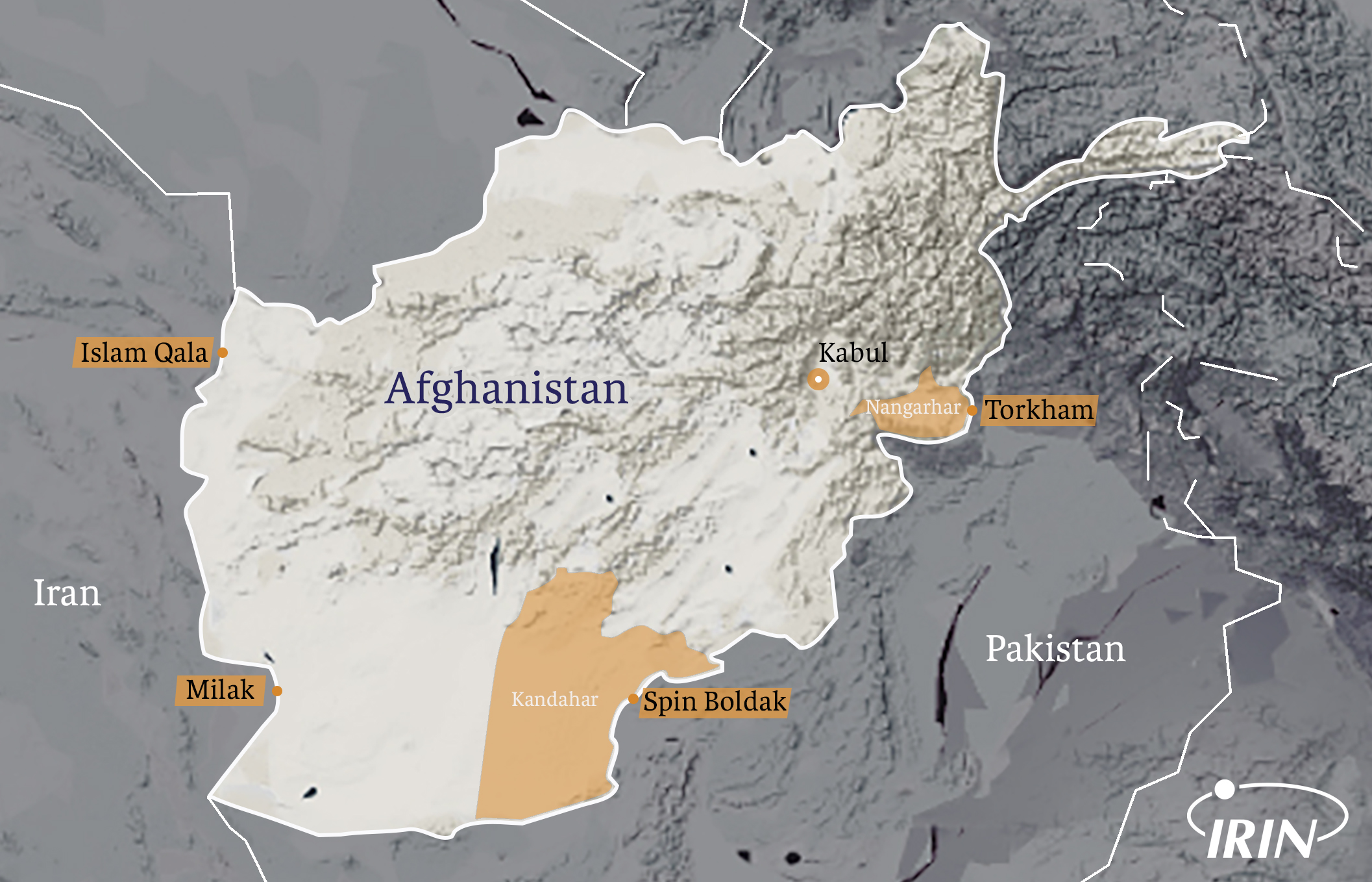 Map of Afghanistan featuring Nangarhar and Kandarhar Provinces as well as prominent border crossings
