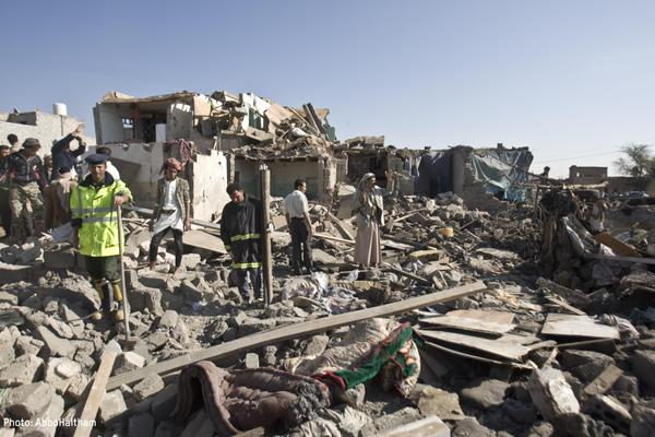 An image shared by Oxfam showing a house destroyed in Yemen