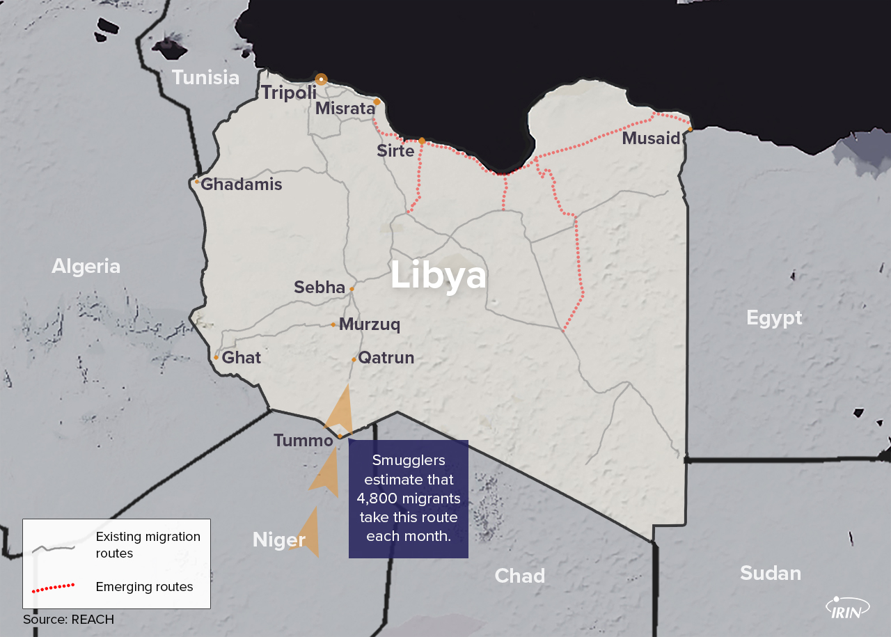 Map of Libya showing migration routes including Tummo