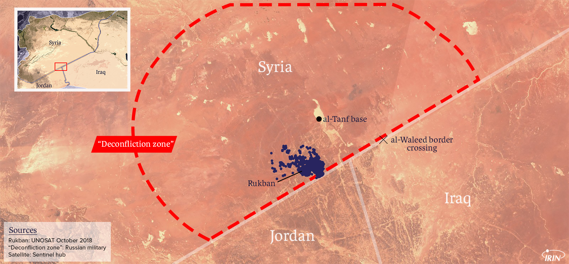 Map of Syria, Iraq, and Jordan border showing At Tanf, al Waleed and Rukban camps