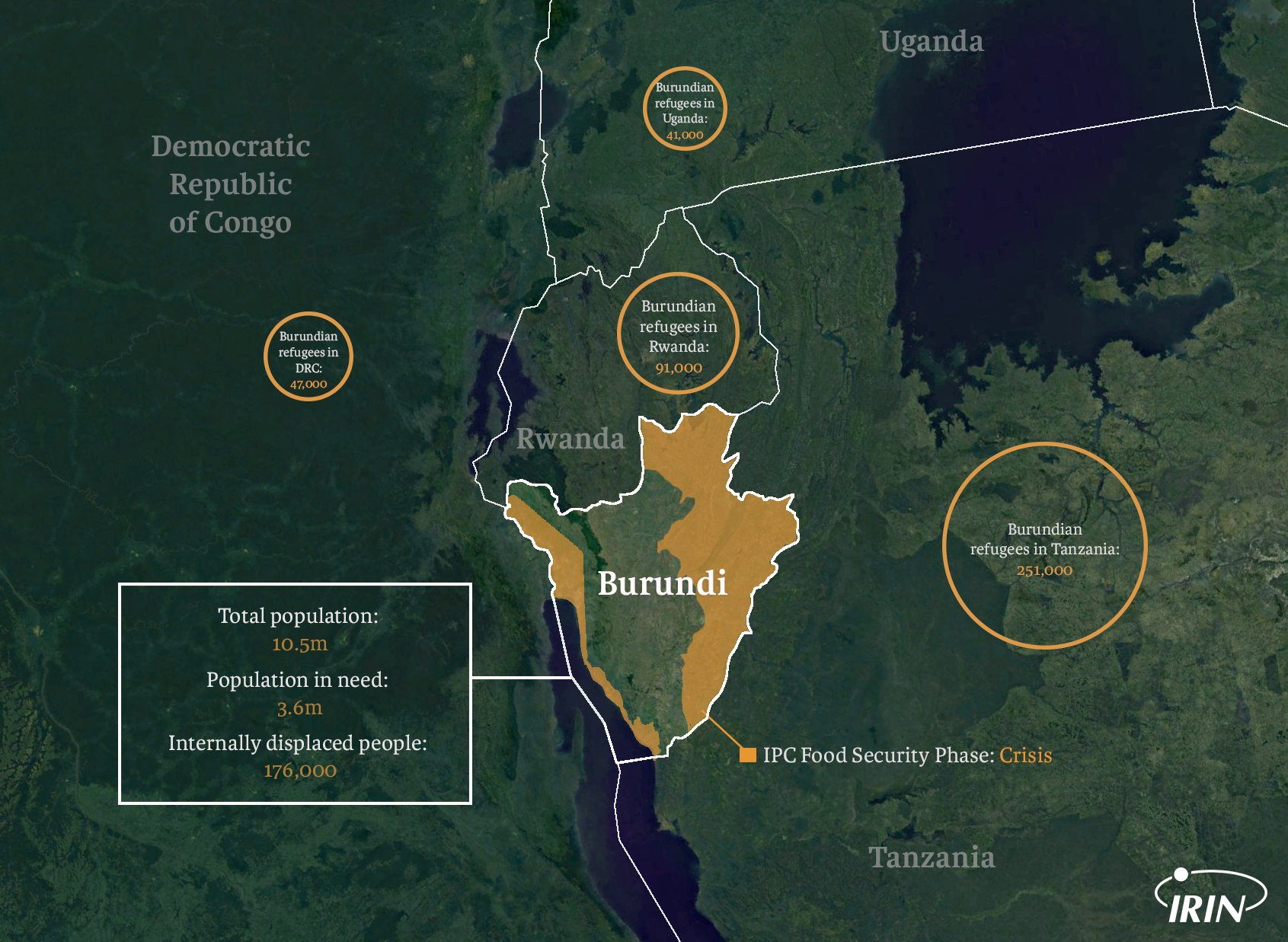 Map of Burundi and neighbours with refugee, IDP, and food security information