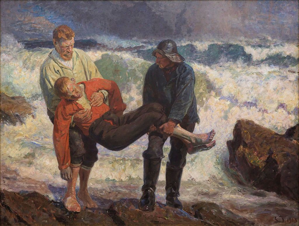 Danish painting of drowning by Laurits Tuxen (1913)