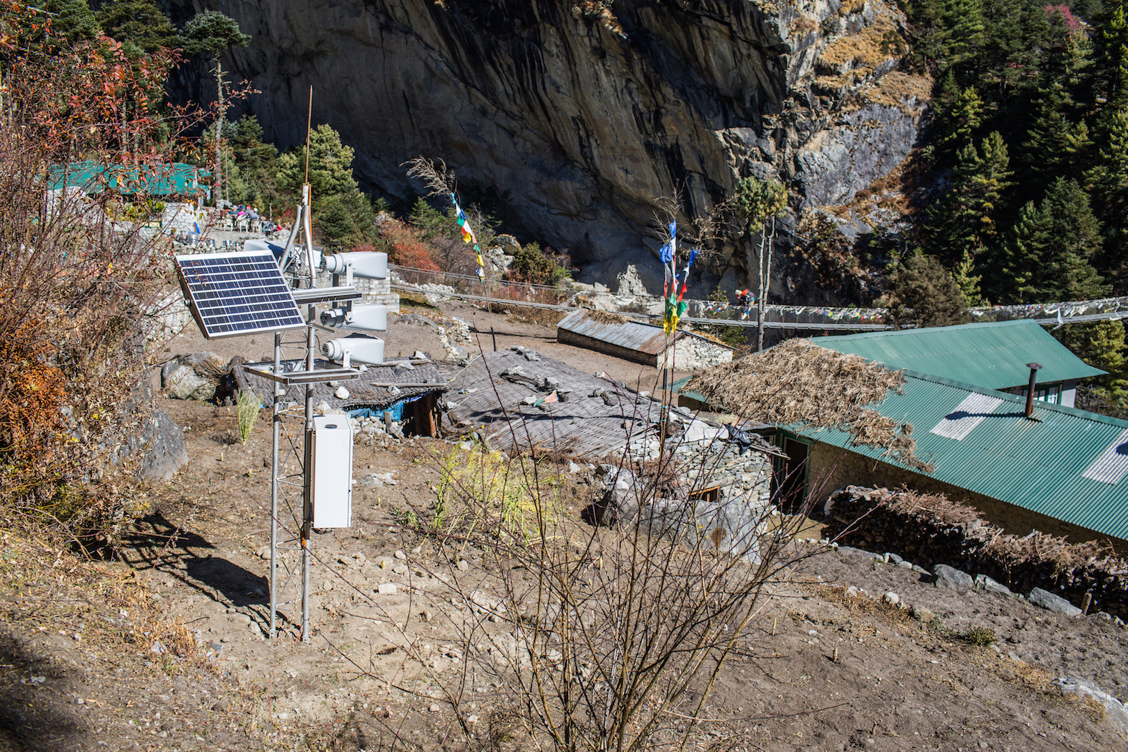 An early warning system installed in Phungithanka Village, which will receive an automated warning if there is a risk that the Imja Lake will overflow