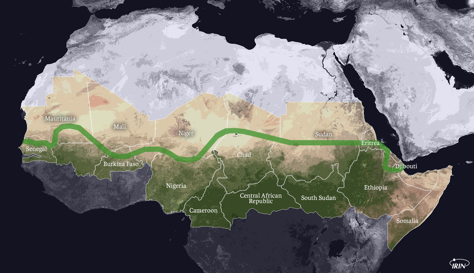 Map of East and West Africa showing the Green Wall