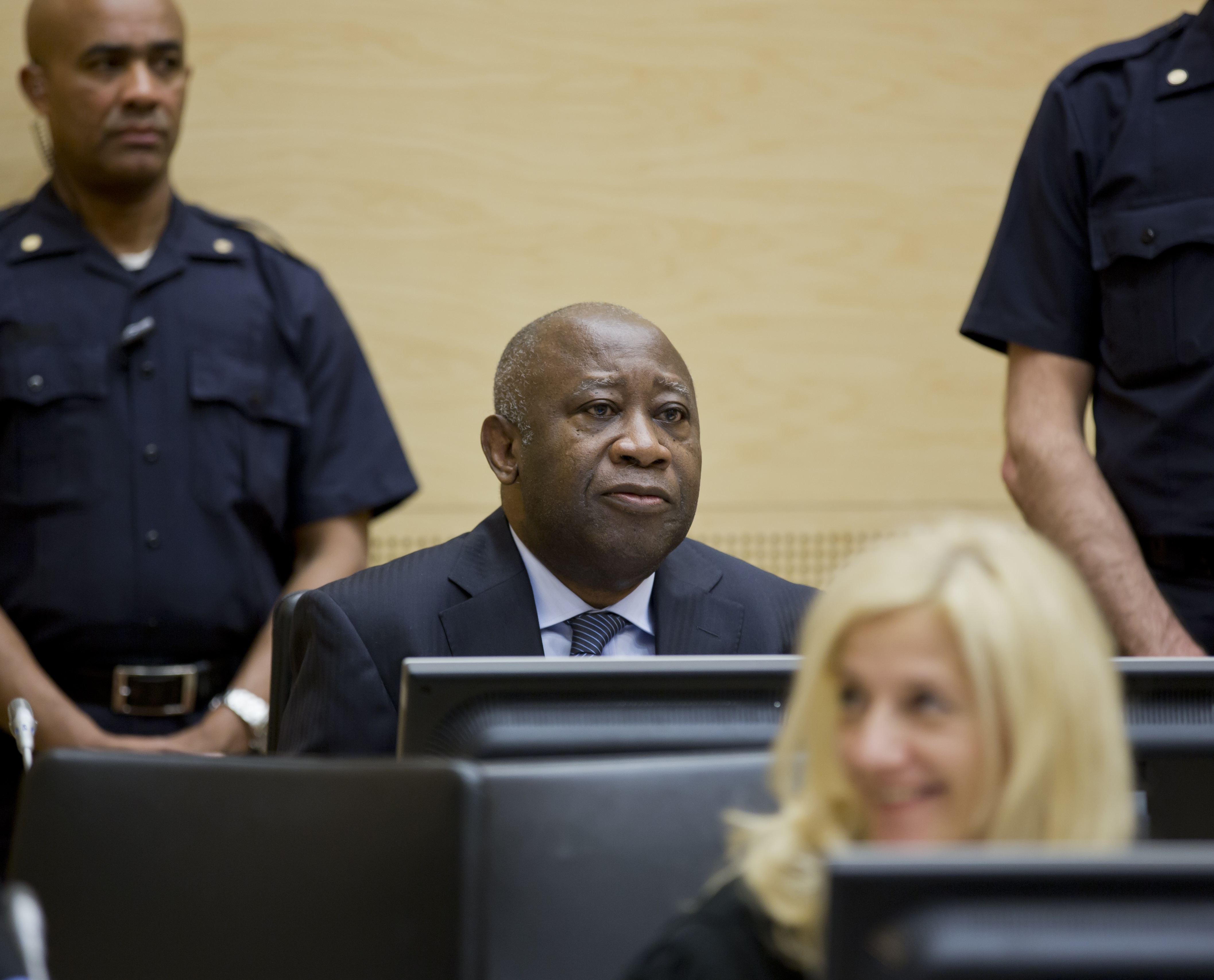 Laurent Gbagbo in Courtroom 1 of the International Criminal Court