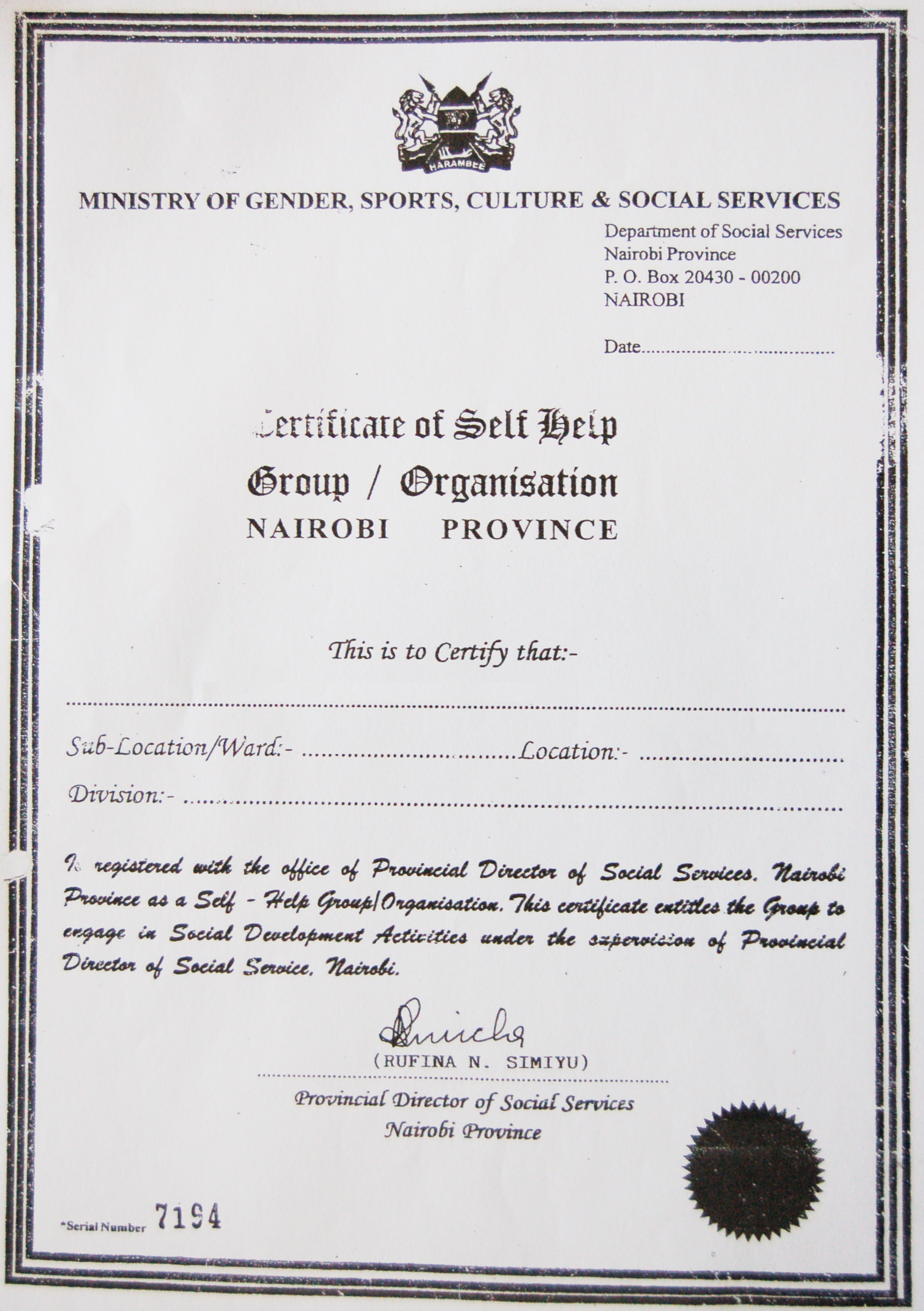 A sample certificate of self help group under the minister of a sample certificate of self help group under the minister of gender sports yelopaper Image collections