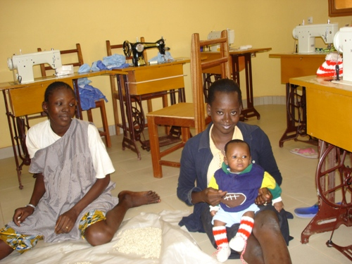 Girls and their children at the government run maternal hostel in Burkina Faso.