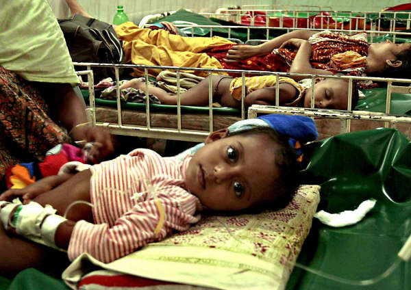 A young diarrhoea patient  in a Dhaka hospital.