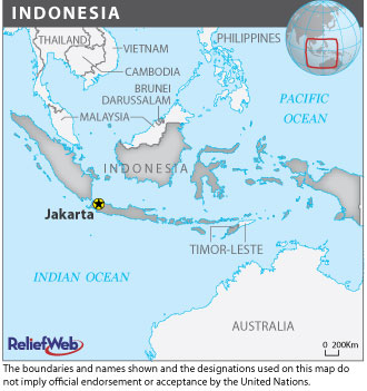 A map of Indonesia.