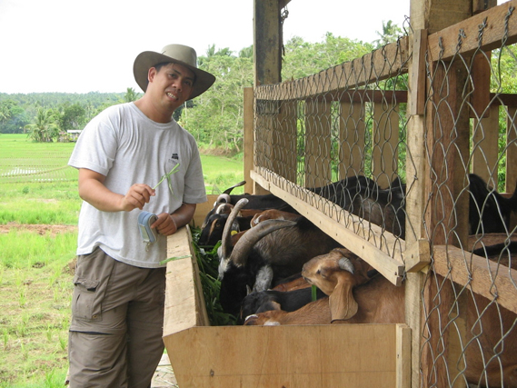 Darwin Tinasas, a 34-year-old farmer from Davao City on Mindanao Insland, has been raising goats for eight years as a source of meat and to use the dung for his fruit and vegetable plots.