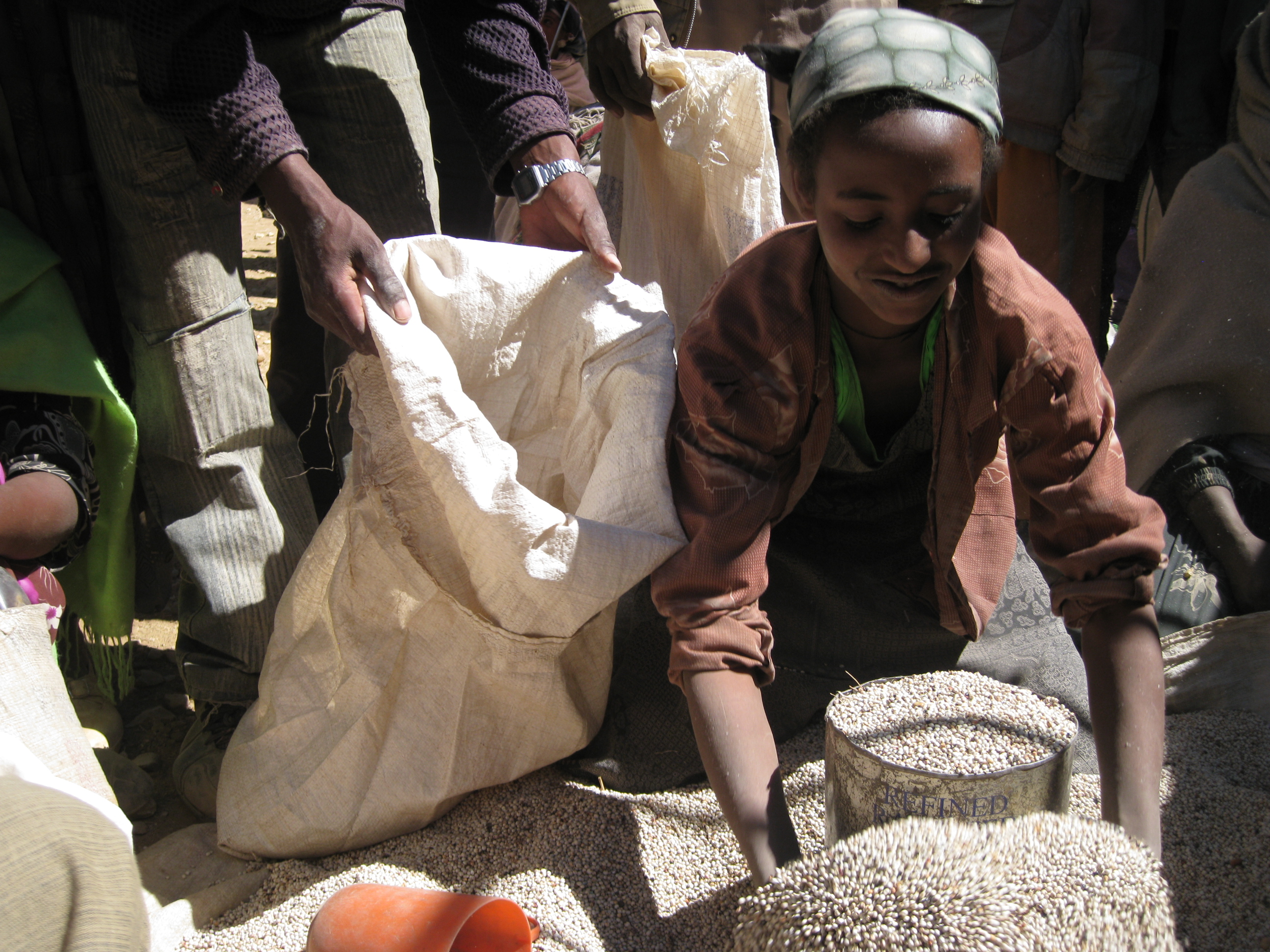 Distribution of relief aid - sorghum - to residents of Zarema village, Atsbi Womberta woreda in Tigray region