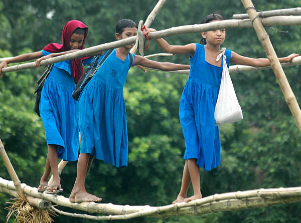 Going to school is no an easy task for the girls of Bangladesh.