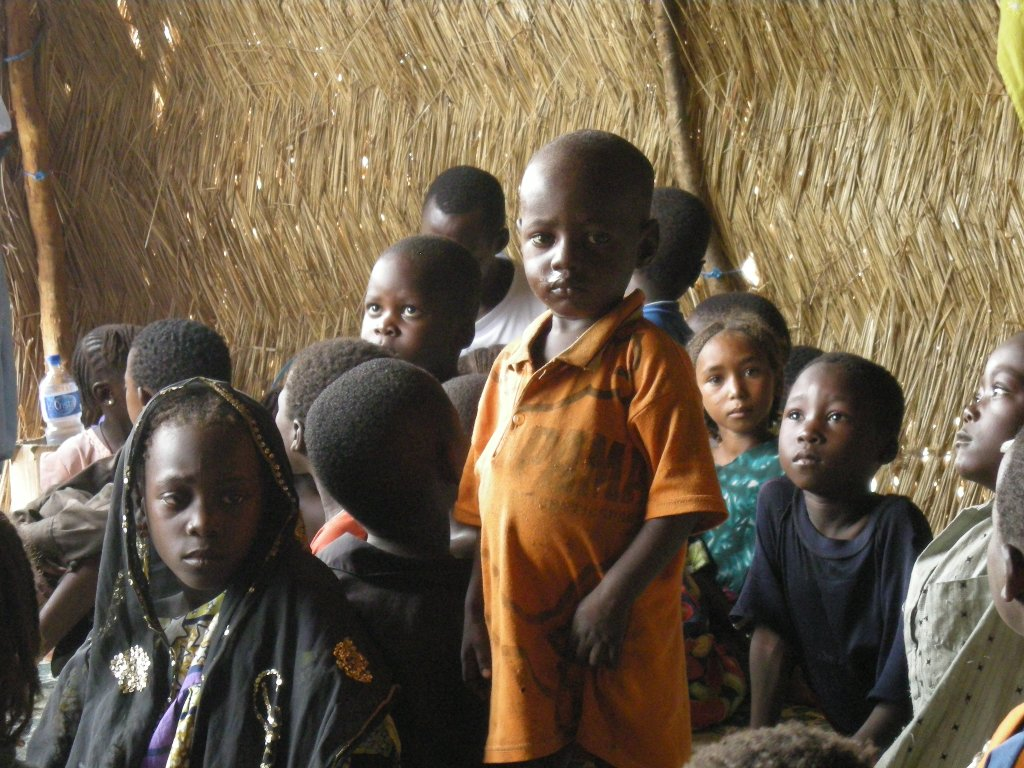 Children from Central African Republic, at a UNICEF kindergarten in the border village of Daha. The children are among some 18,000 people who fled from CAR into southern Chad in early 2009