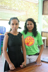Maria da Costa, left, (a victim of domestic violence) and Judith Ribiero do Concacao, who works at the Fokupers shelter for women in Dili. Domestic violence remains a major challenge in Timor Leste