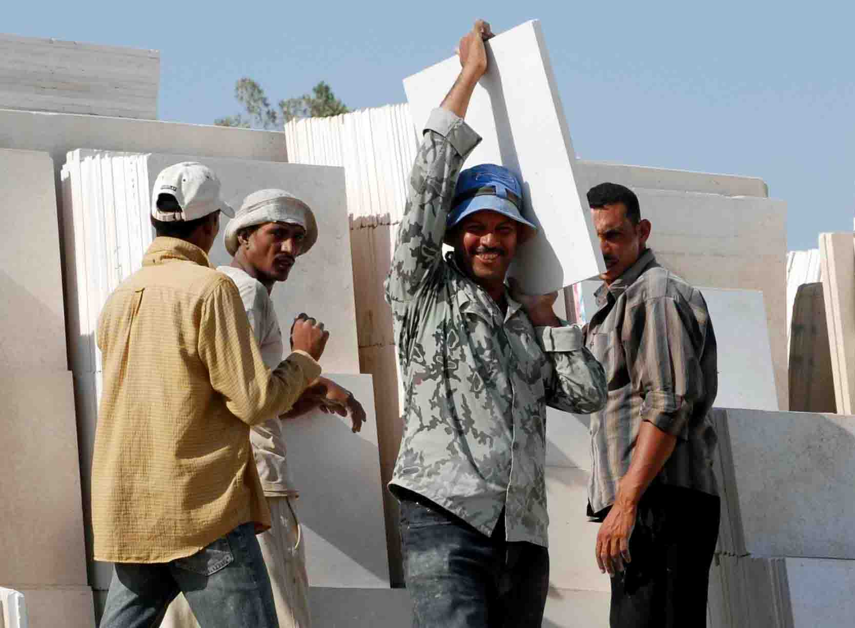Construction workers in Egypt. Those returning from Libya are finding it difficult to get employed