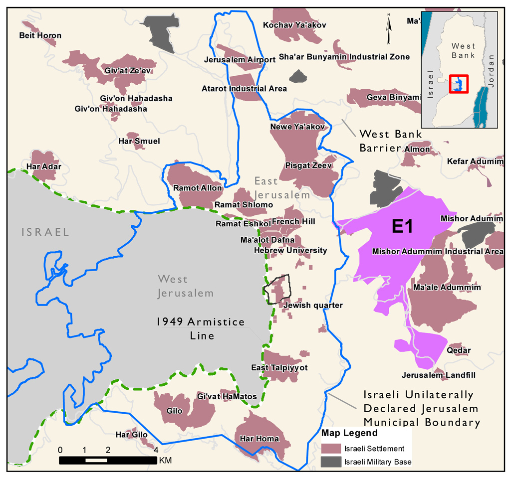 "Beyond the E-1 Israeli settlement - <a href=""http://www.irinnews.org/pdf/Jerusalem_Settlements_V2.pdf"" target=""_blank"">View larger version of map here</a>"