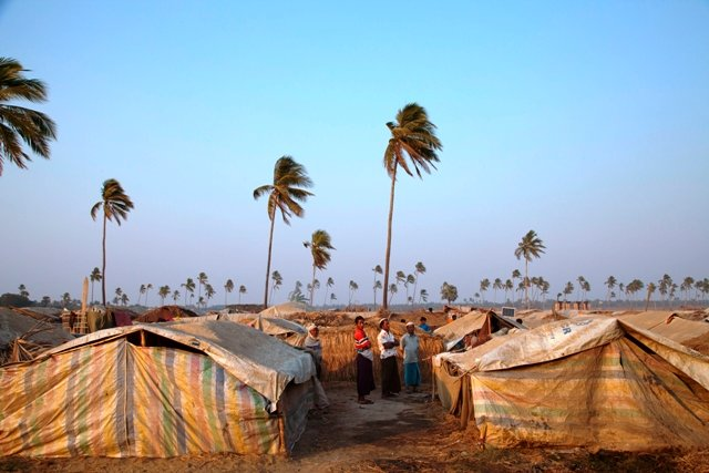 Most of the thousands of unregistered Rohingya IDPs in this camp live in thatched-straw shelters spread across a flood-prone field. More than 125,000 Rohingyas were displaced in June and October 2012 following inter-communal violence in Myanmar's western