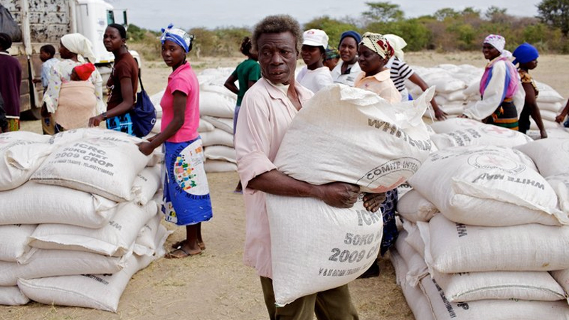ICRC distributes maize to farmers in Zimbabwe's Fuchira region affected by drought