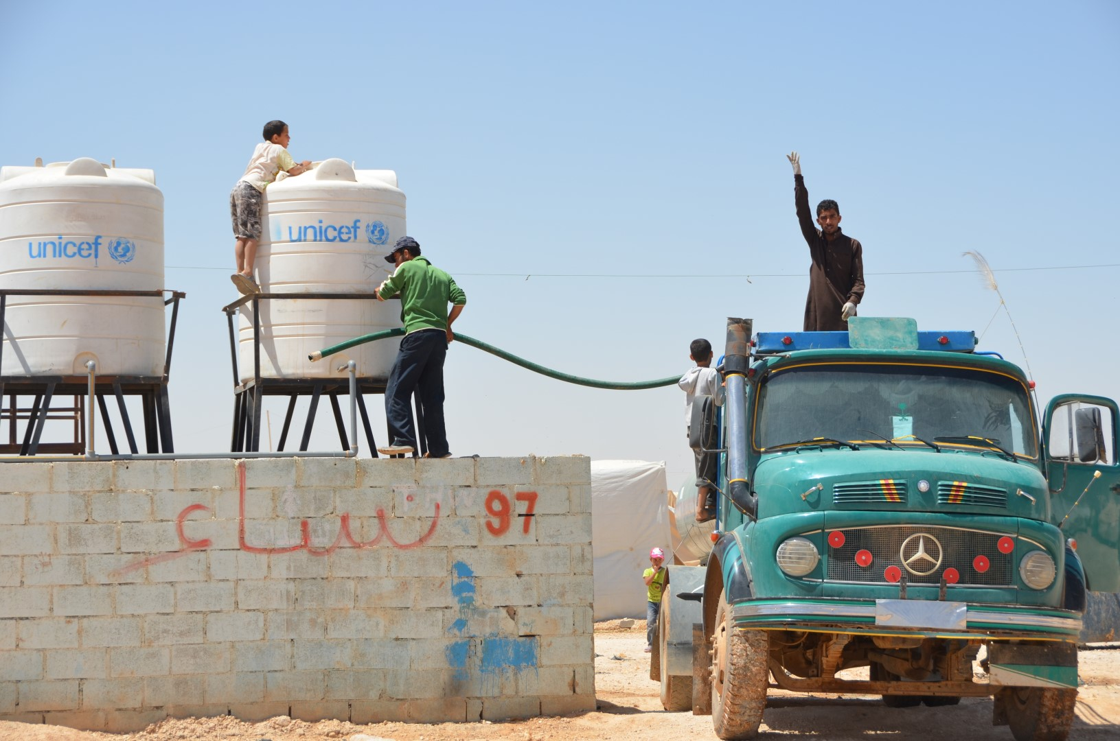 Every day, contractors truck nearly four million litres of water to Za'atari camp for Syrian refugees in northern Jordan