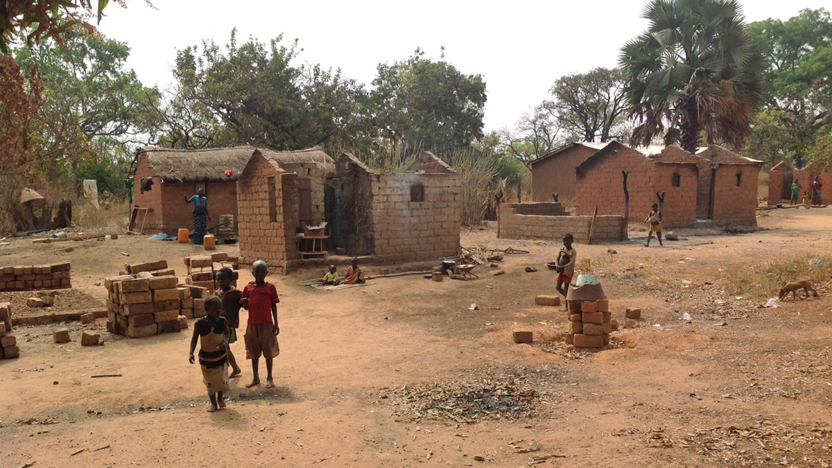 Destroyed houses in the village of Boyeli (near Bozoum) burned by the Seleka in January 2014