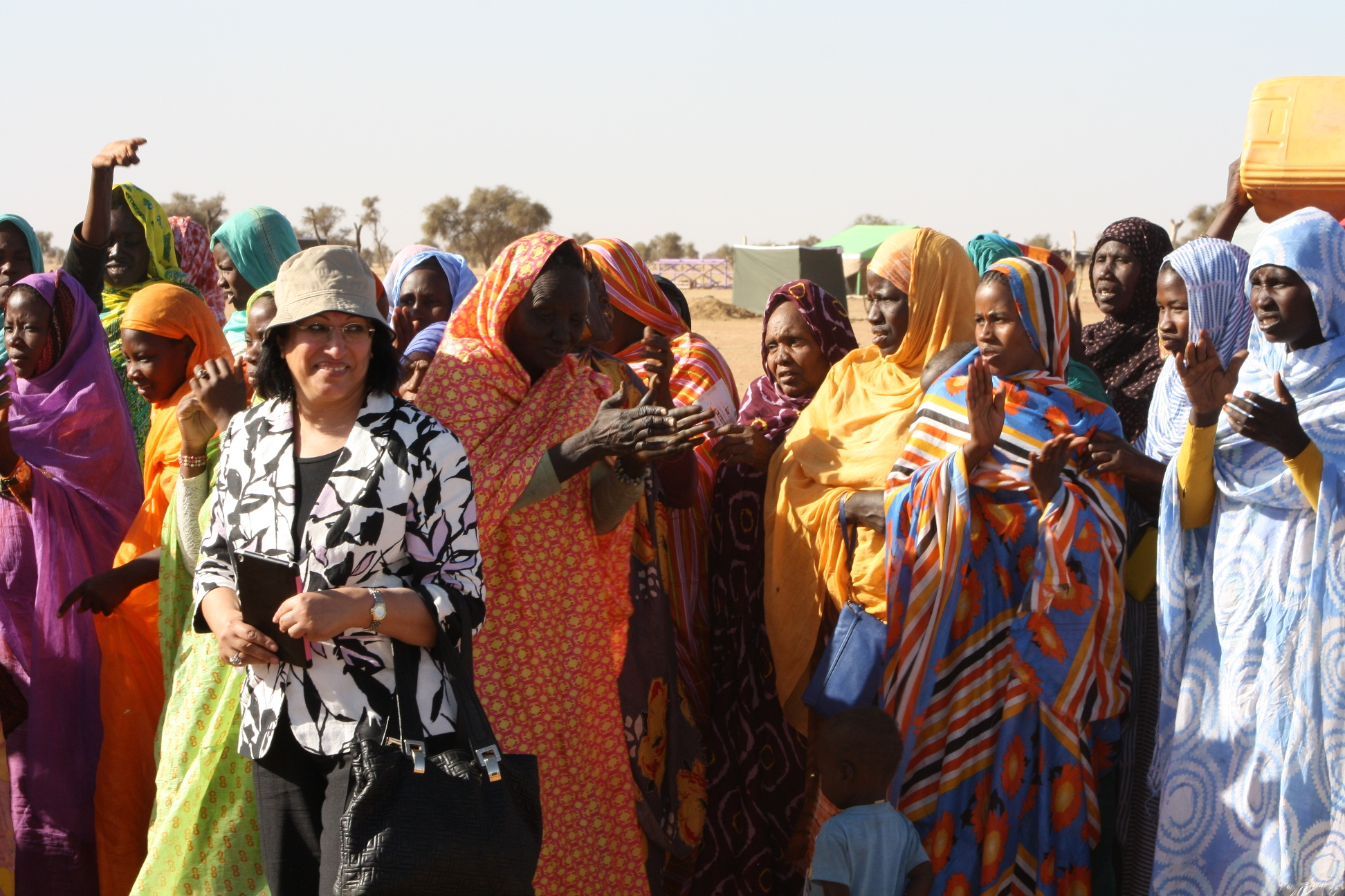 Mme Faeqa Saeed Al-Saleh, Joint General Secretary and Head of Social Affairs at the League of Arab States, with women in the village of Beydia Taboyett, in Brakna, Mauritania, February 2014.
