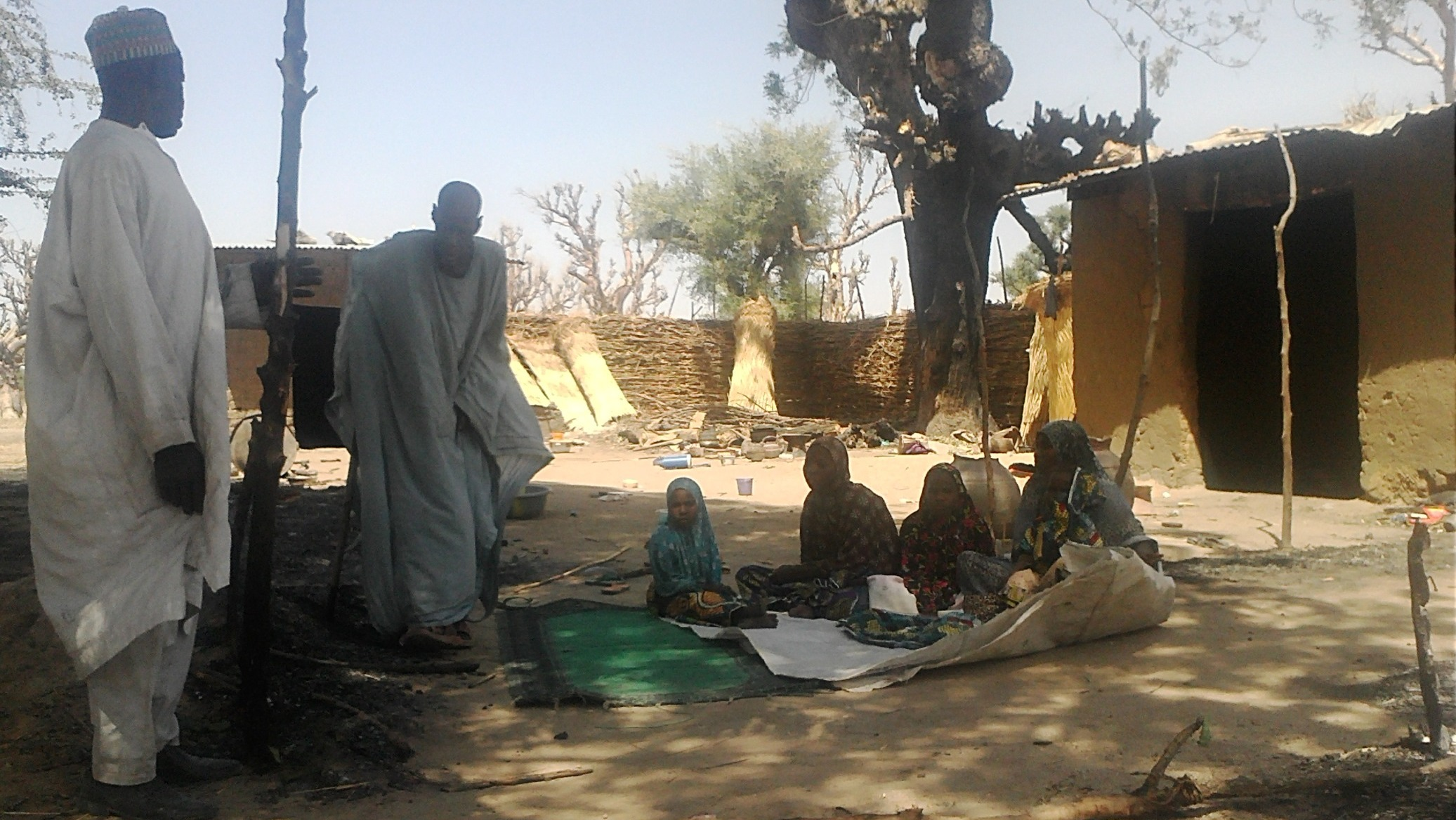 IDPs from Damboa village in Borno State sheltering in the home of a relative.