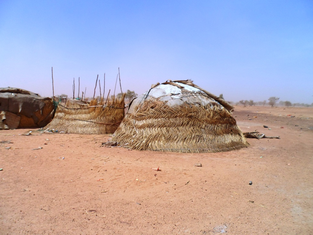 Austere shelters at Mentaao camp in northern Burkina Faso hosting some 12,000 Malian refugees