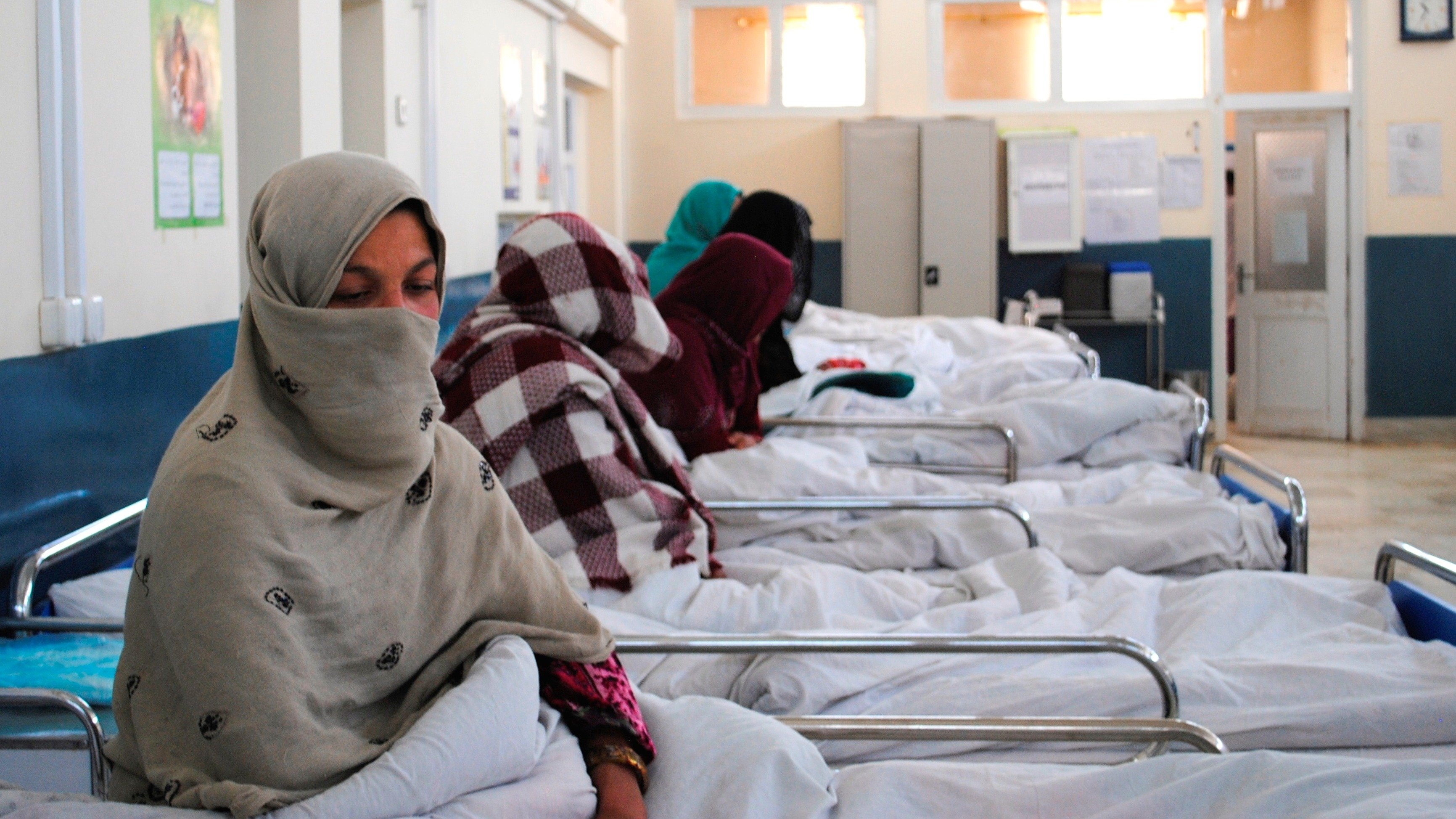 The inpatient department for women who have just given birth at Ahmed Shah Baba Hospital in the Afghan capital Kabul.  Women (without complications) can stay up to 12 hours after giving birth. Medecins Sans Frontieres (MSF) has been supporting the distric