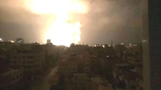 The view of bombing from a Gaza resident's window in July 2014 during Israel's attack on the Palestinian enclave.