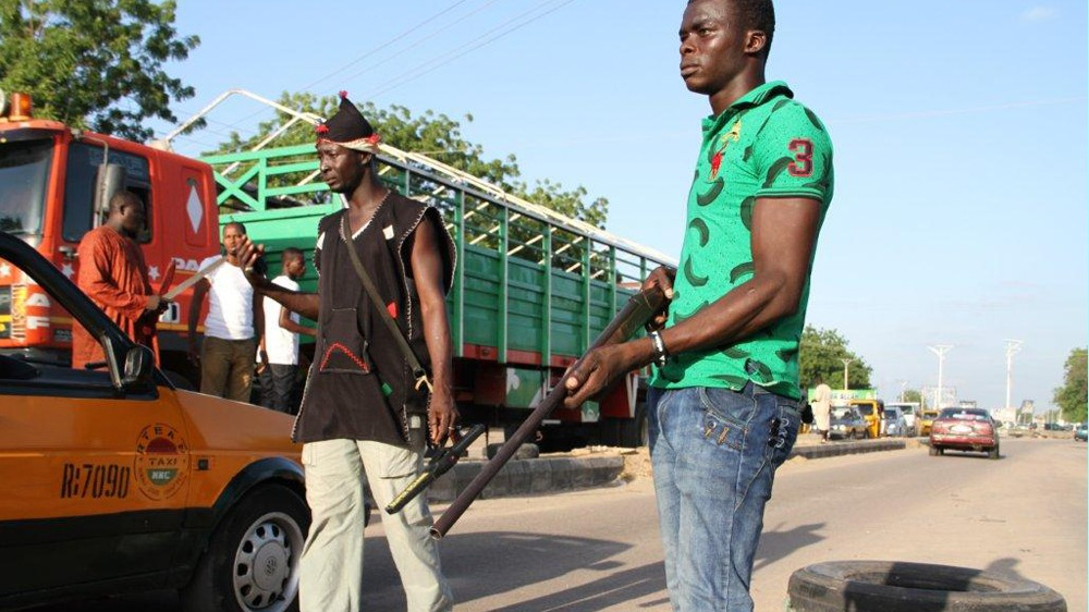 Civilian JTF roadblock in Maiduguri