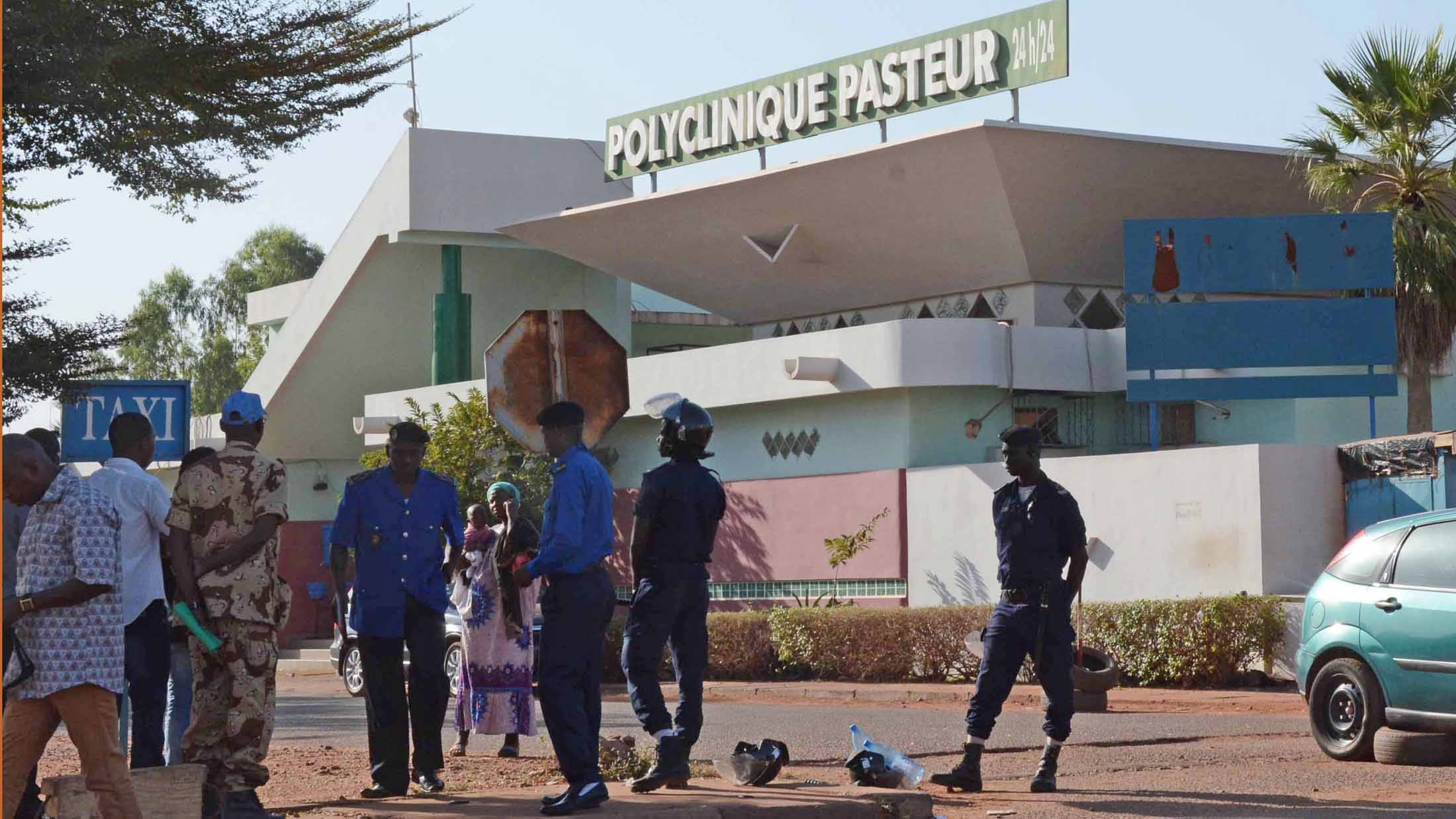 Police turned away patients at the Clinique Pasteur in Bamako, after the hospital was put under quarantine for the Ebola virus.