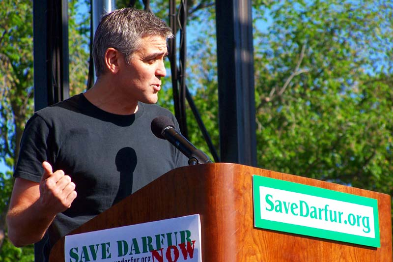 George Clooney speaks at a Save Darfur rally in the US in 2006.