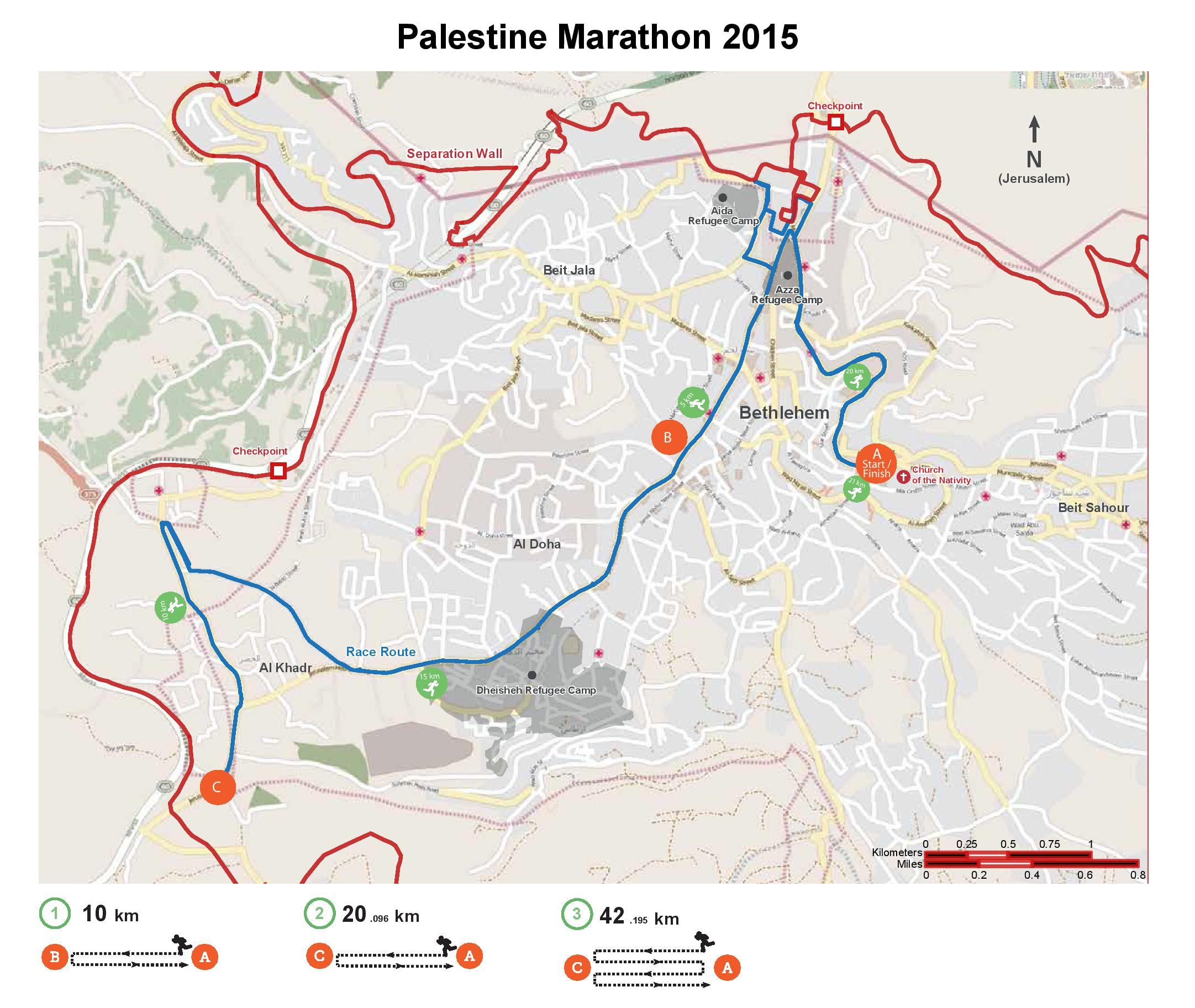 A map of the Ramallah marathon