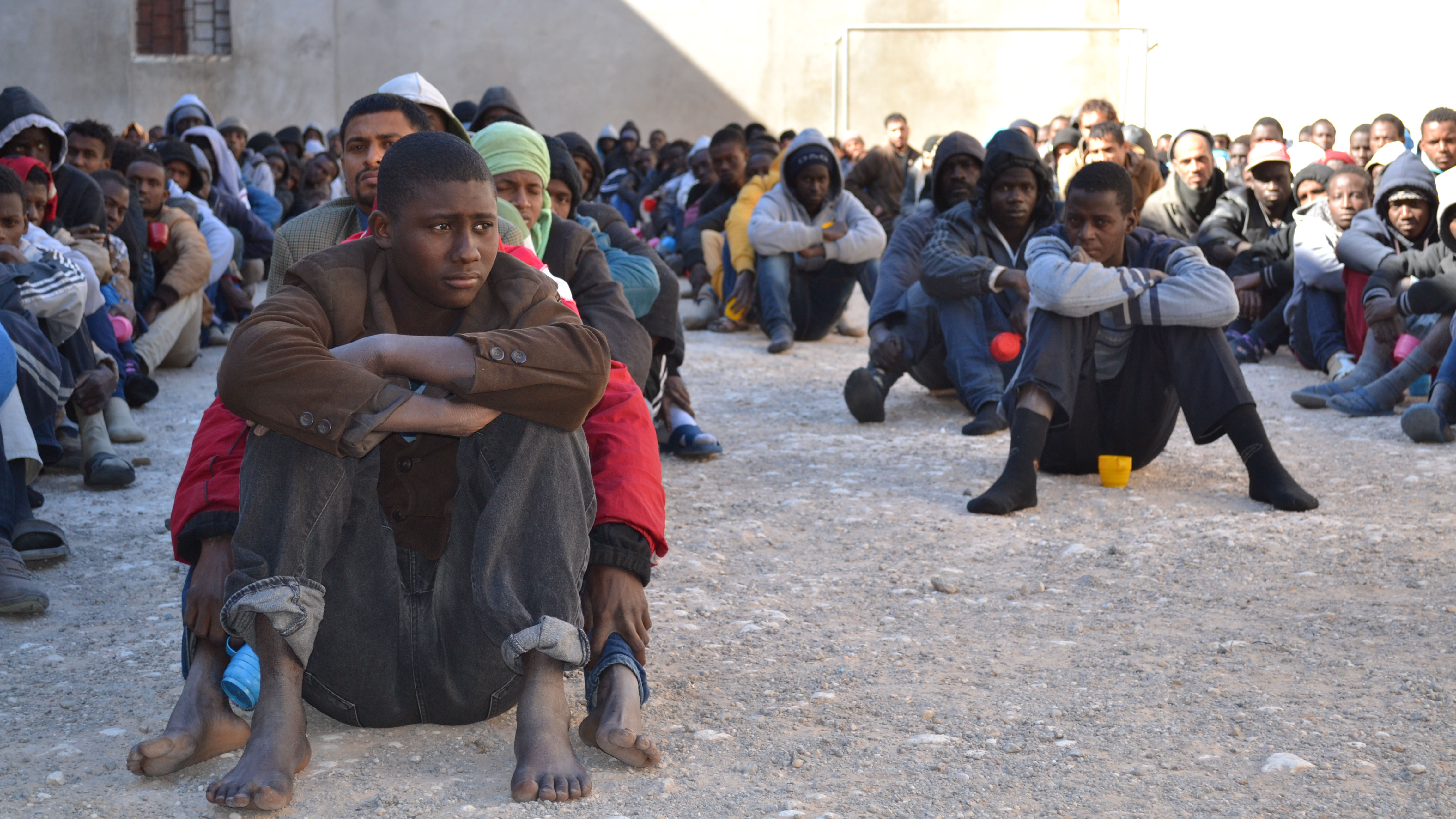 Detainees at a migrant jail in Zawiya, Libya