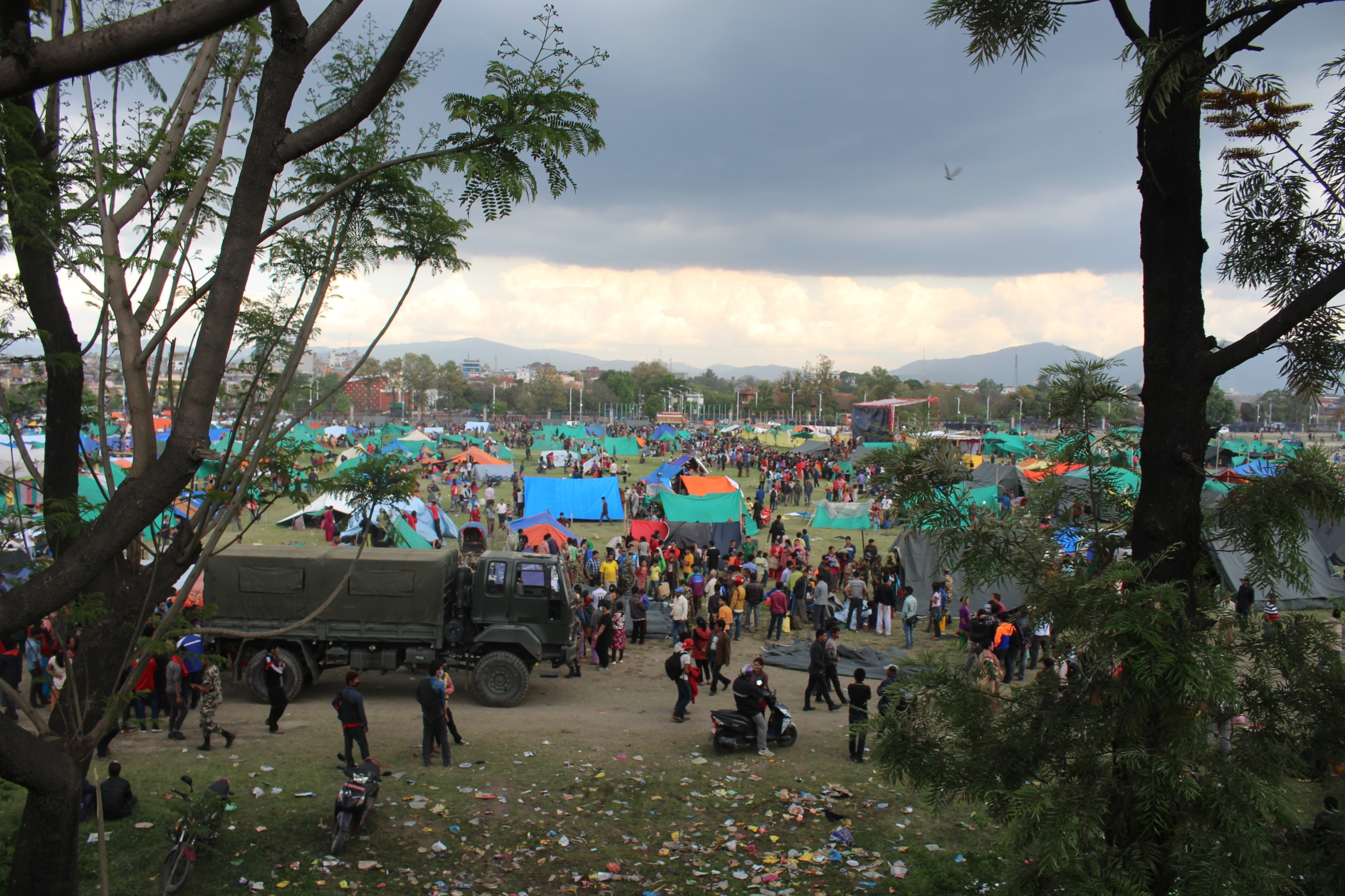 A mass of tented camps at the Tundhikhel area, in the centre of the Nepali capital Kathmandu, is home to the largest number of displaced families after a 7.8-magnitude earthquake struck on 25 April 2015. Local NGOs estimate more than 40,000 families live