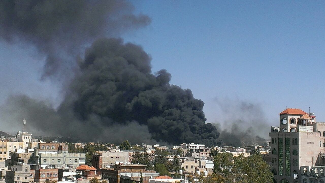 Smoke after an airstrike in Sanaa, Yemen, on morning of Tuesday 12 May.