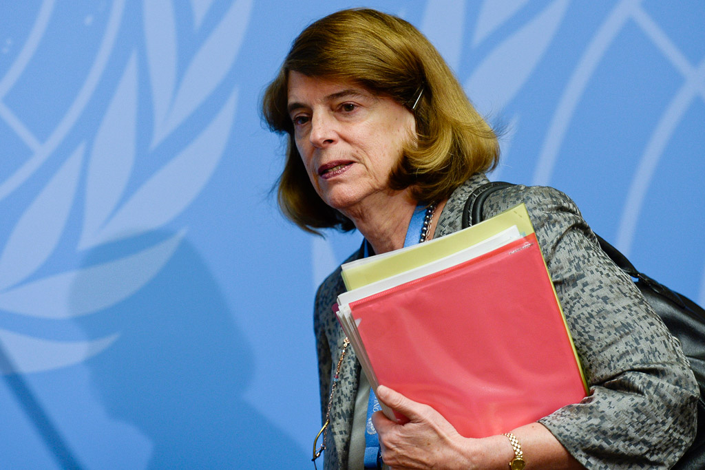 Mary McGowan Davis, Chairperson, Independent Commission of Inquiry on the 2014 Gaza Conflict, at press conference in Geneva.